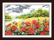 Benway Counted Cross Stitch Beautiful Poppy Flowers And Green Trees Beside The River 14 count 75cm X 54cm