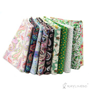 RayLineDo 10 Pcs Different Pattern Multi Colour 100% Cotton Poplin Fabric Fat Quarter Bundle 46cm x 60cm Patchwork Quilting Fabric Paisley and Green Series