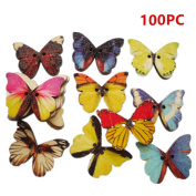Multi coloured wood butterfly shape button