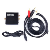 NCElec Digital to Analogue Audio Converter with Optical Cable, 3.5mm to 2RCA Cable and USB Power Cable
