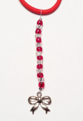 Cheer Bow Silver Charm and Red BeadsTagTailz Unique Fashion Accessory Gifts for Girls - Gifts for Tweens Tie them anywhere!!!