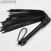 Ardour Crafts FL-103 Genuine Bull Hide Leather Flogger, 25 Tails Whip Heavy Duty, Black