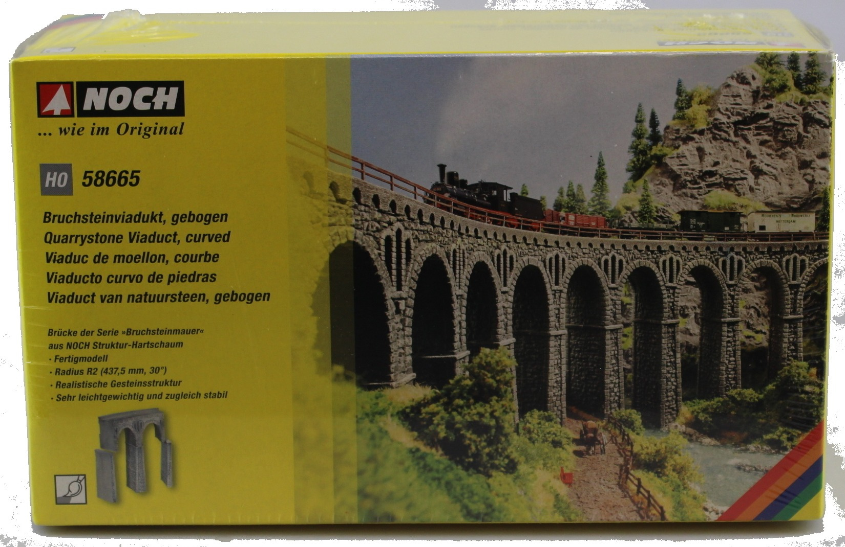 NOCH 58665 HO undressed stone viaduct, curved