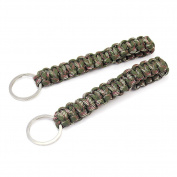 2pcs Paracord Survival Key Chain Ring Parachute Rope for Outdoor Sports