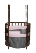 Baby Doll Bedding Solid Reversible Round Crib Bedding Set, Grey/Pink