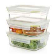 Komax Oven Safe Rectangular Glass Food Storage Containers – Microwave & Freezer Safe - Airtight Lunchbox with Snap Locking Lids - BPA FREE - 3 Piece Set