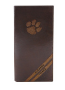 NCAA Clemson Tigers Zep-Pro Pull-Up Leather Long Secretary Embossed Wallet, Brown