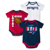 New England Patriots Bodysuit 3-Point Spread Baby Creeper Set