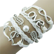 Lookatool® DIY Style Jewellery fashion Leather Cute Infinity Charm Bracelet Silver