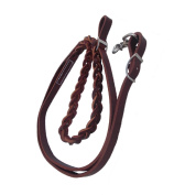 2.1m Hand Braided One piece Brown leather roping Rein