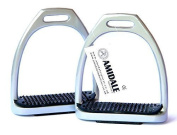 aluminium LIGHT WEIGHT STIRRUPS HORSE RIDING WITH TREADS 12cm SILVER AMIDALE SPORTS