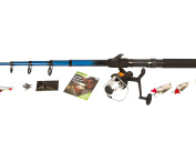 Matt Hayes Adventure Complete Coarse Fishing Set Telescopic Spinning Rod / Reel / Line / End Tackle & Fishing Guide Book - Ideal Starter / Introduction Kit [99-1468380]