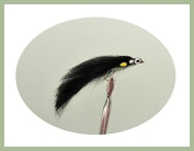6 Pack of Black JC Zonker Trout Flies, Size 10