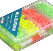 FLADEN (1000 piece) Green, Red & Yellow 5mm to 12mm Assorted Soft Beads in a Handy 2 Sided Tackle Box Set - Great for Marine Rig Making [15-3651]