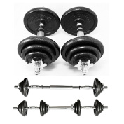PROIRON 20kg Cast Iron Adjustable Dumbbell Set Hand Weight with Solid Dumbbell Handles Changed into Barbell Handily Perfect for Bodybuilding Fitness Weight Lifting Training Home Gym, 15kg, 30kg