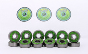 16 x GREEN SLIME - ABEC 11 608 RS Water Resistant Rubber Seal Skateboard / Stunt Scooter / Inline Skate Bearings