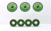 4 x GREEN SLIME - ABEC 11 608 RS Water Resistant Rubber Seal Skateboard / Stunt Scooter / Inline Skate Bearings