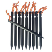 Black Aluminium Alloy Outdoors Tent Stakes Pegs with Pull Cords & Pouch,Pack of 10