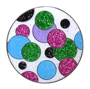 Navika Glitzy Polka Dot (Green & Pink) Marker with Magnetic Hat Clip