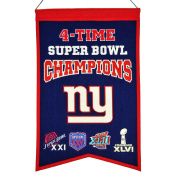 NFL New York Giants 4X Super Bowl Champions Banner, One Size, Multicolor