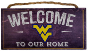 NCAA West Virginia Mountaineers 30cm x 15cm Distressed Welcome to Our Home Wood Sign