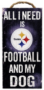NFL Pittsburgh Steelers 15cm x 30cm All I Need is Football and My Dog Wood Sign