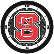 NCAA North Carolina State Wolfpack Textured Wall Clock, Carbon Fibre, One Size