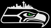 Hawk Logo with Seattle Skyline and Green Eye - NFL Seattle Seahawks Vinyl Decal