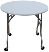 90cm Round Folding Table on Wheels
