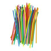 Usstore 100PC Multicolor Long Bendy Drinking Straws Home Bar Party Cocktail Drink Straw