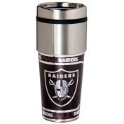 NFL Oakland Raiders 470ml Stainless Steel Travel Tumbler with Metallic Graphics, One Size, Team Colour