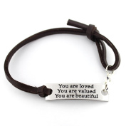"saying stamped ""You are loved You are valued You are beautiful"" leather inspirational bracelet"