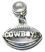 DALLAS COWBOYS OFFICIALLY licenced SILVER PLATED CHARM WITH CONNECTOR
