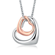 Rose Gold Charm Double Heart Silver Pendant Necklace Eternal A Lifetime Loving You Interlocking Heart Necklace for Womens Girls Teens