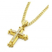 Usstore Women Lady Men Cross Pendant Sharp Sides Rhinestone Hip-hop Cuban Necklace Chain