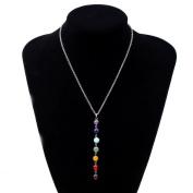 Usstore Pendants Women 7 Chakra Beads Chain Necklace Yoga Reiki Healing Balancing Jewellery Gift