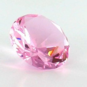 .  : Pink Colour Glass Crystal Diamond Shaped Paperweight 5.7cm