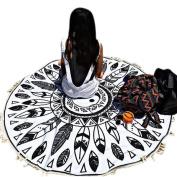 XUANOU Gossip Geometric Pattern Round Beach Towel Blanket Table Cloth With Tassel Lace Yoga Mat