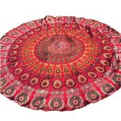 XUANOU Round Beach Mat Towel Peacock Feather Printing Tablecloth Yoga Mat