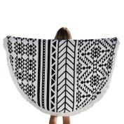 XUANOU Bohemian Round Shape Tapestry Geometric Pattern Beach Towel Mat Yoga Mat With Tassel
