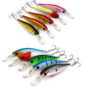 Kemilove Lot 5pcs Kinds of Fishing Lures Crankbaits Hooks Minnow Baits Tackle