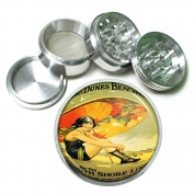 """63mm 2.5"""" 4Pc Aluminium Sifter Magnetic Grinder D-027 GIRL UMBRELLA THE DUNES BEACHES BY THE SOUTH SHORE LINE CHICAGO ILLINOIS VINTAGE"""