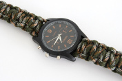 Paracord Bracelet Universal with clock and fire starter of the brand PRECORN Survival rope braided bracelet for tear-resistant parachute cord Paracord Ropes 350 cord in army-green (WARNING