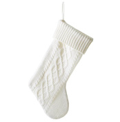 White Cable Knit Sweater with Ribbed Cuff 50cm Christmas Stocking Decoration
