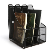 Aojia Mesh Collection 3-compartment Mesh Magazine and Literature File, Black 28cm x 24cm x 4.2mh Ly-9303c