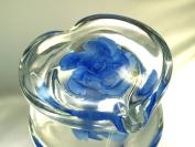 M Design Art Handcraft Glass Art Sapphire Blue Flower in Glass Heart Paperweight