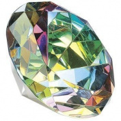 Crystal Clear Faceted Diamond Shaped Paperweight Top Maybe Engraved Apx. 8.9cm Diameter