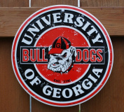 Georgia Bulldogs 30cm Embossed Metal Nostalgia Circular Sign