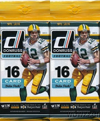 2016 Donruss NFL Football Lot of TWO(2) HUGE Factory Sealed FAT PACKS with 32 Cards including 6 EXCLUSIVE Press Proof Blue INSERTS & 6 ROOKIE Cards! Look for Autographs of NFL Stars, Legends & Rookies