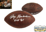 """Roger Staubach Autographed/Signed Official Wilson Authentic Duke NFL Football with """"HOF 220cm Inscription"""